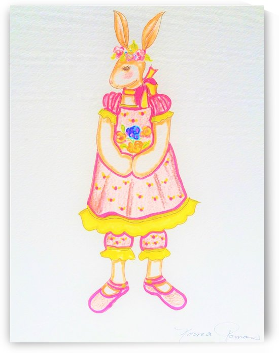 Easter Bunny in White Pattern Dress Yellow Trim Pink Shoes by Norma Roman Creations