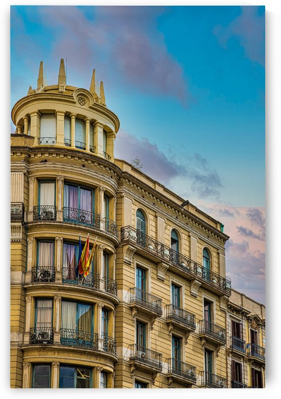 Barcelona Hotel with Iron Railings by Darryl Brooks