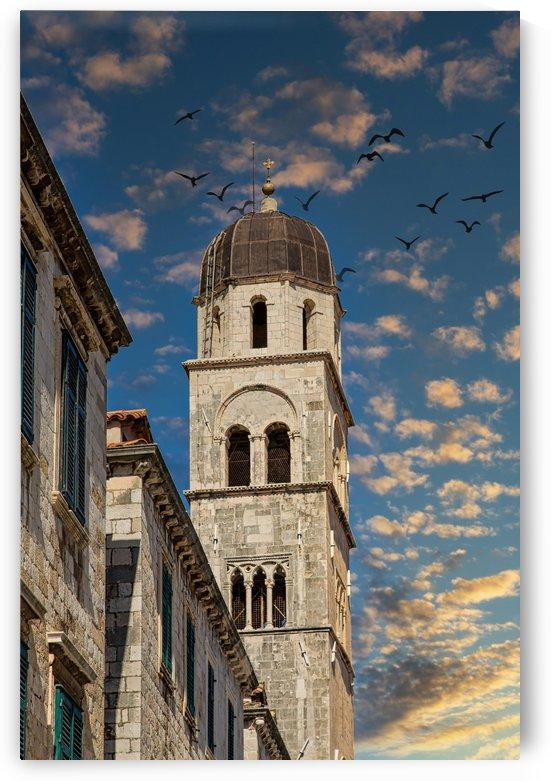 Bell Tower in Dubrovnik Under Dusk Sky by Darryl Brooks