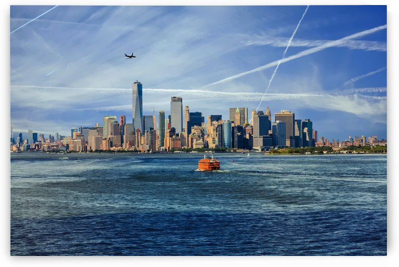 New York City with Ferries and Planes by Darryl Brooks