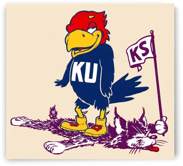 Fifties Kansas Jayhawk Cartoon Art by Row One Brand