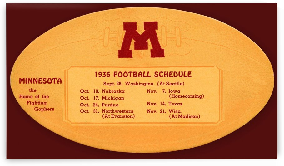 1936 minnesota gophers football schedule national champions by Row One Brand