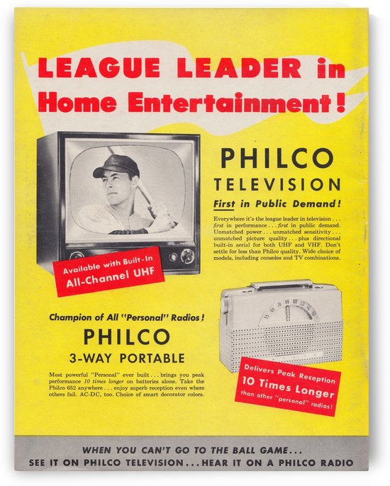 1953 philco television radio vintage baseball ad by Row One Brand