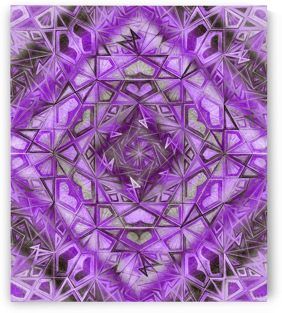 Purple Fractal Kaleidoscope Handdrawing by CvetiArt
