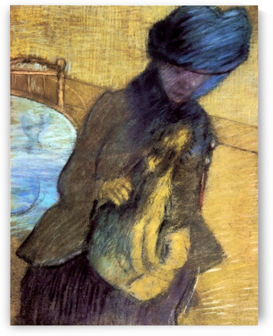 Mary Cassatt with her dog by Degas by Cassatt
