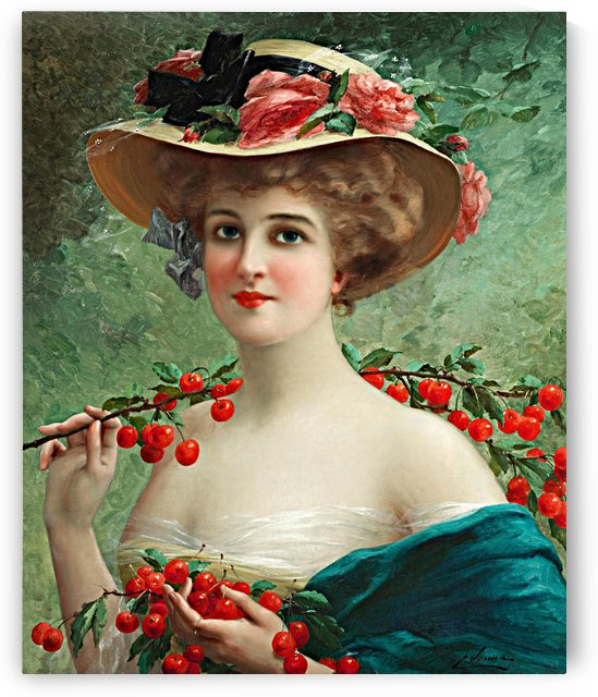 Beautiful Elegant Lady In Blue Green With Flowered Hat And Red Cherries by One Simple Gallery