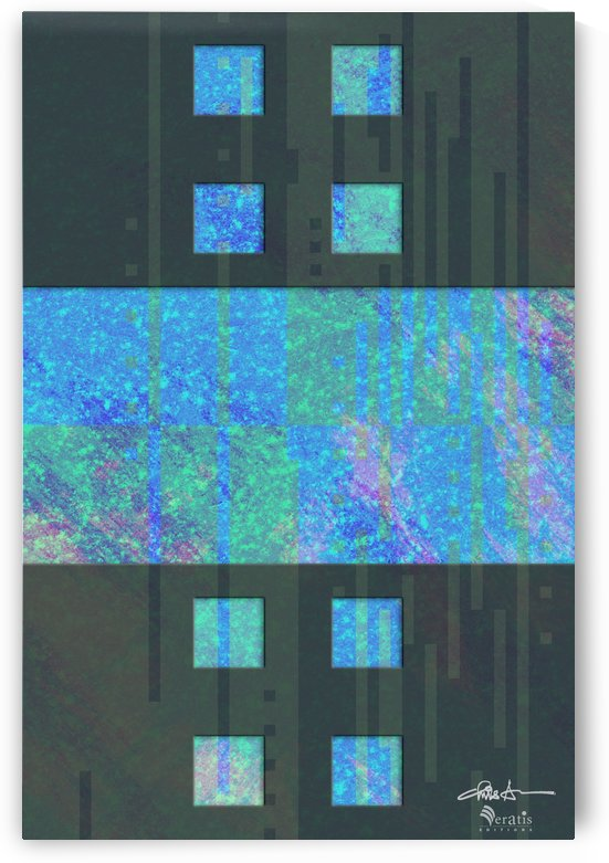 Framed Cyan Noise 2 H 2x3 by Veratis Editions
