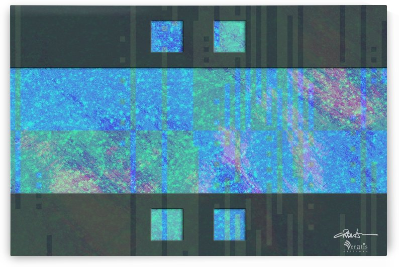 Framed Cyan Noise 2 H 3x2 by Veratis Editions