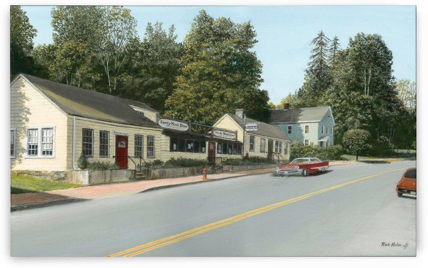 Sandy Hook Diner - Newtown Scenes 16 X 24  by Rick Kuhn