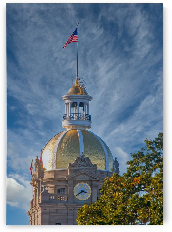 Gold Domed Clock Tower on City Hall by Darryl Brooks