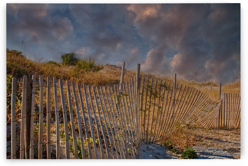 Fence Beside Beach at Dusk by Darryl Brooks