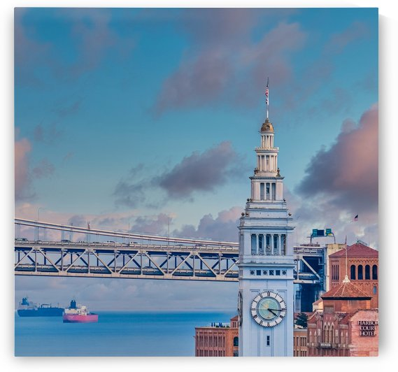 Ferry Building and Bay Bridge by Darryl Brooks