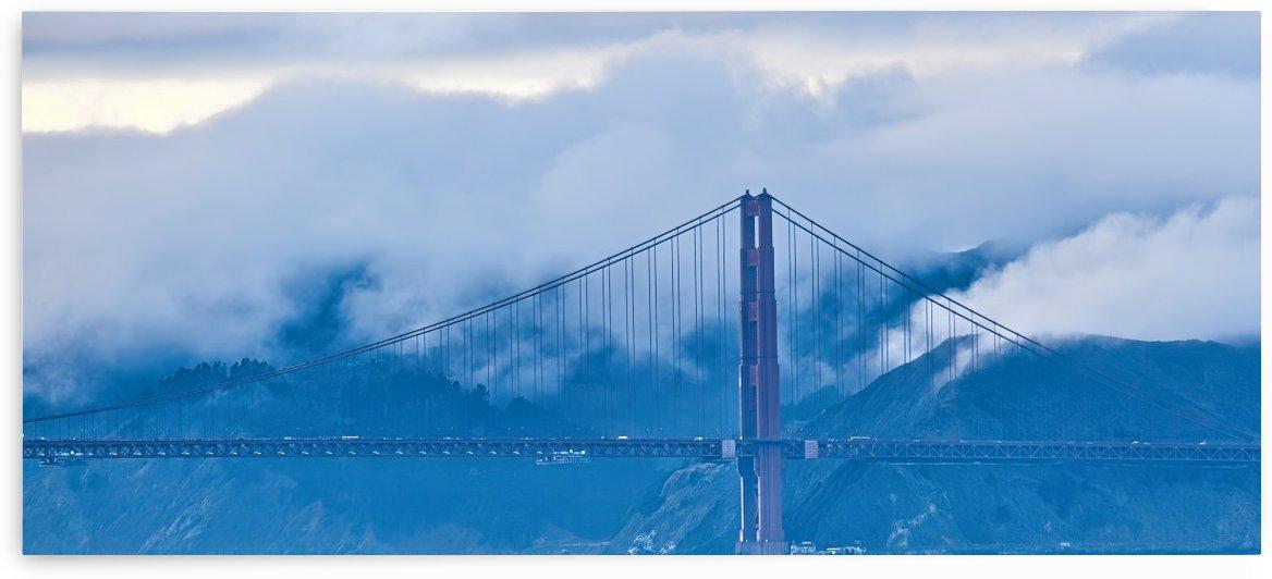 Golden Gate Against Foggy Hills by Darryl Brooks