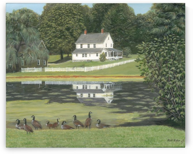 Geese at Hawley Pond - Newtown Series 16X20 by Rick Kuhn