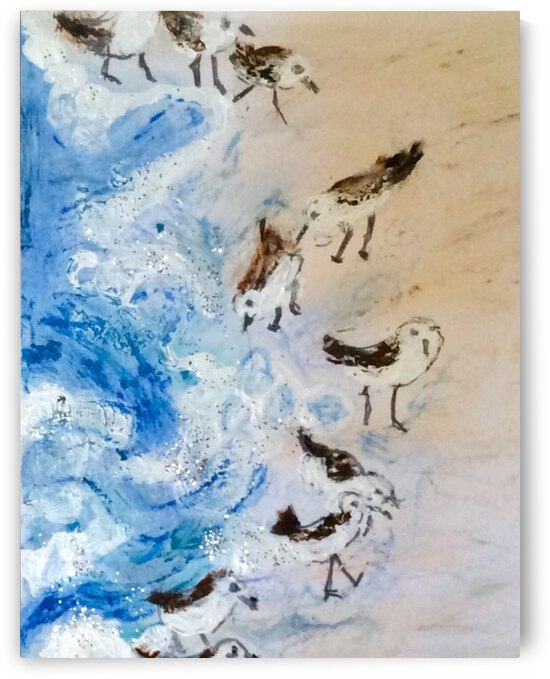 Sandpipers on the beach  by Zaramar Paintings