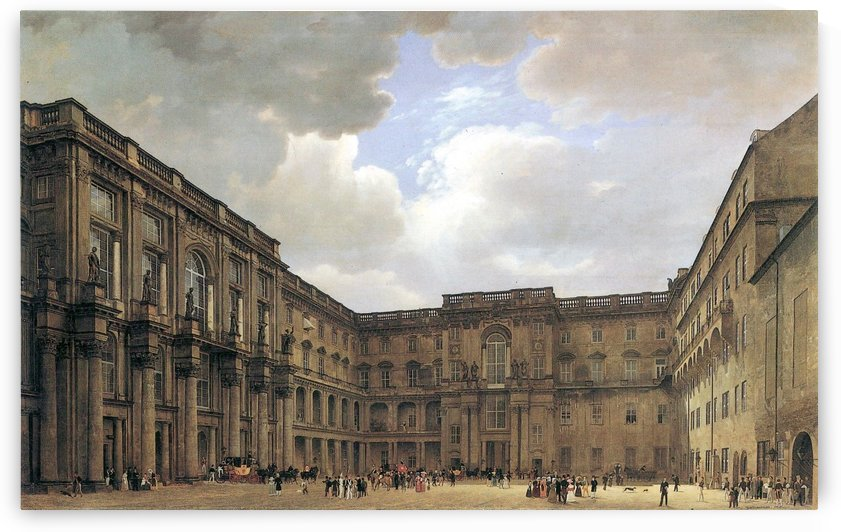 Schloss Sanssouci. Schluterhof des koniglichen Schlosses Berlin by Eduard Gaertner