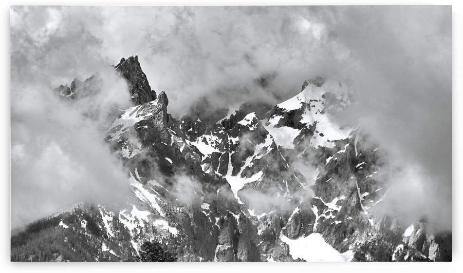 Tetons against clouds B&W by BJMRamage