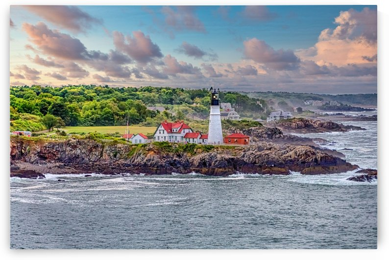 Portland Head LIghthouse and Stormy Coast at Dusk by Darryl Brooks