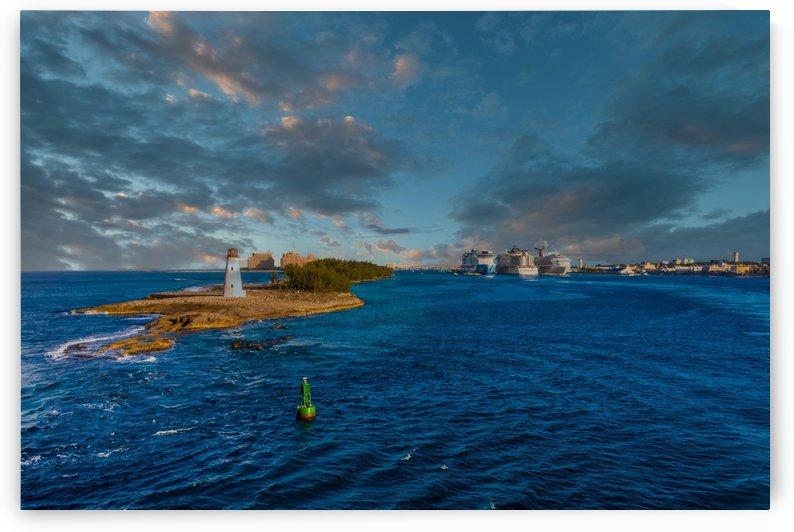Bahamas Lighthouse and Cruise Ships at Dusk by Darryl Brooks