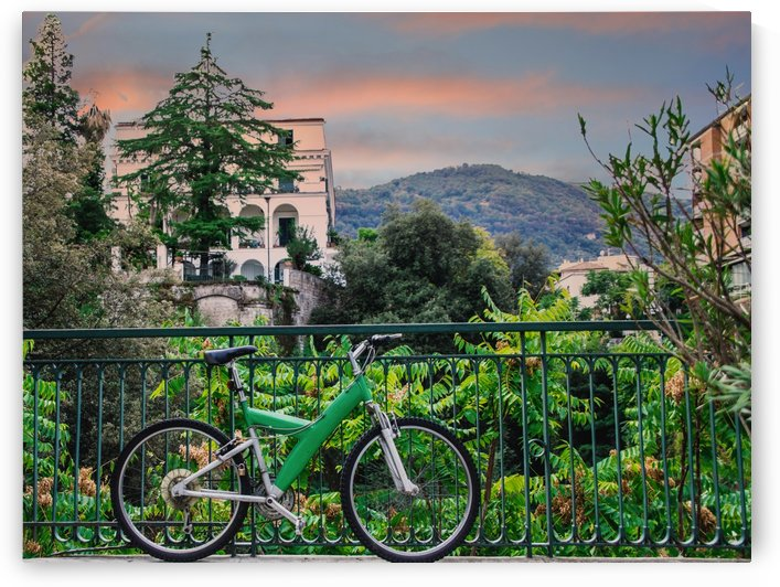 Green Bicycle on Sorrento Patio by Darryl Brooks