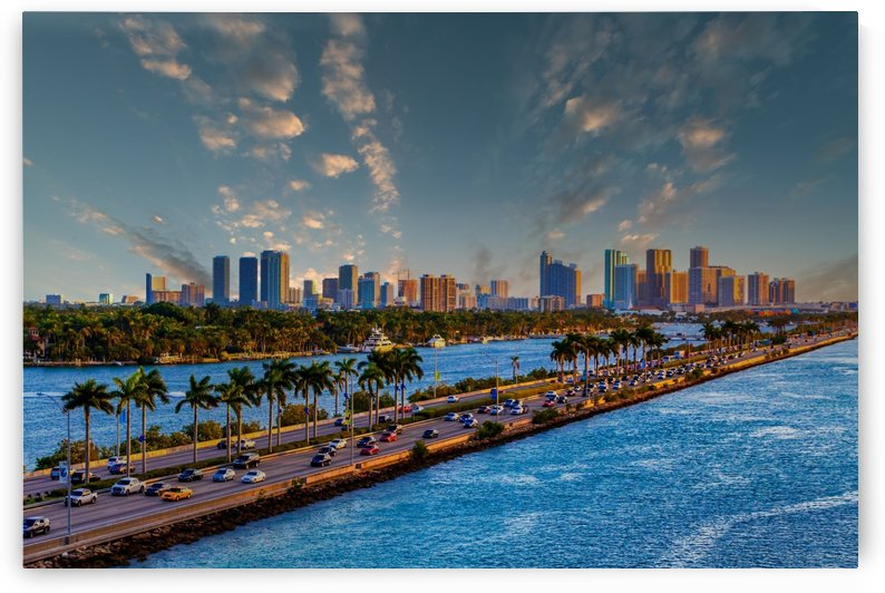 Leaving Miami for the Beach at Dusk by Darryl Brooks