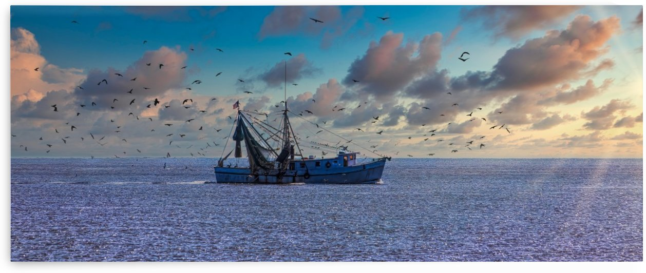 Shrimp Boat into Sunrise by Darryl Brooks