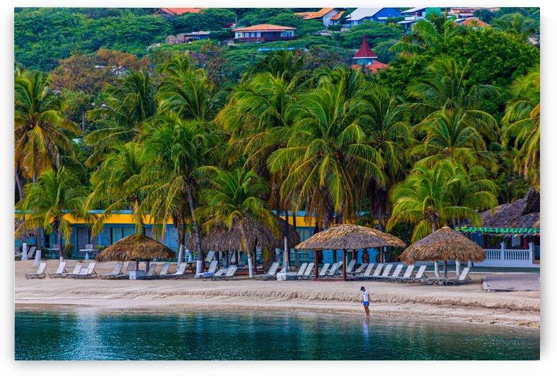 Man Alone on Tropical Resort Beach by Darryl Brooks