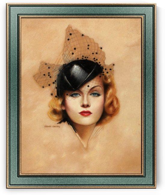 Carole Lombard Portrait by Charles Gates Sheldon Art Nouveau Old Masters Vintage Art Reproduction by xzendor7