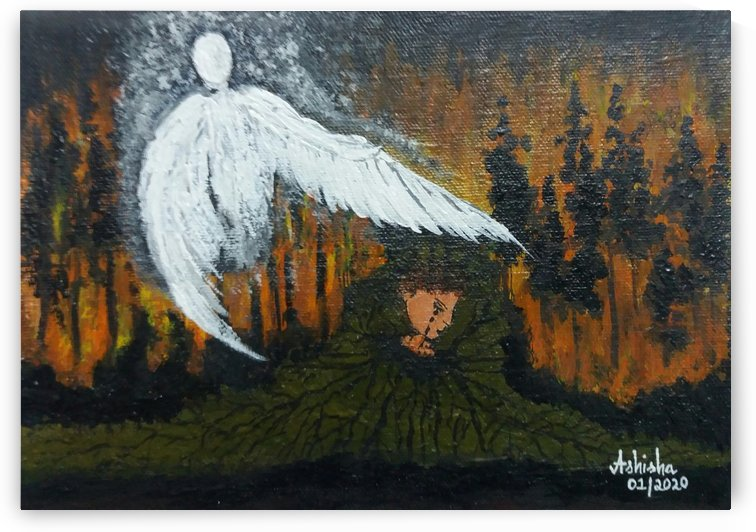 Forest Fire - Weeping Earth watched over by Guardian Angel by Princely Ashisha