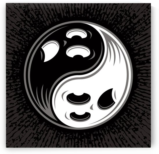 Ghost Yin Yang Black and White by fizzgig