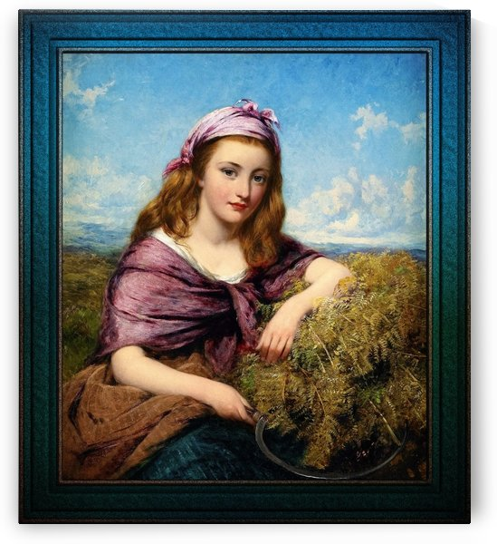 Farm Girl with Sickle and Cut Flowers by Edward John Cobbett Fine Art Old Masters Reproduction by xzendor7