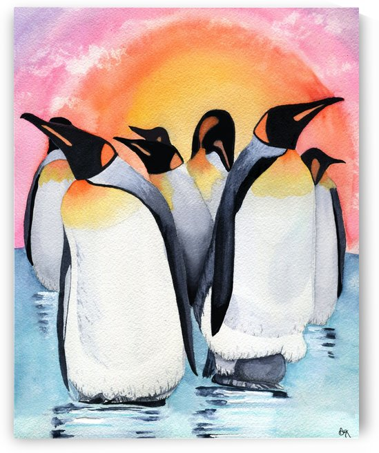 Sunset Penguins by Drip Drop Watercolors
