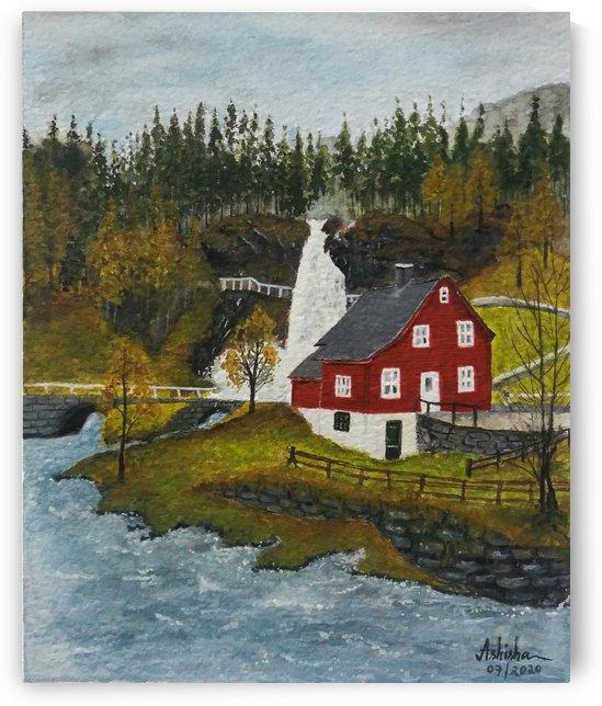 Norway Scenery - Landscape Painting by Princely Ashisha