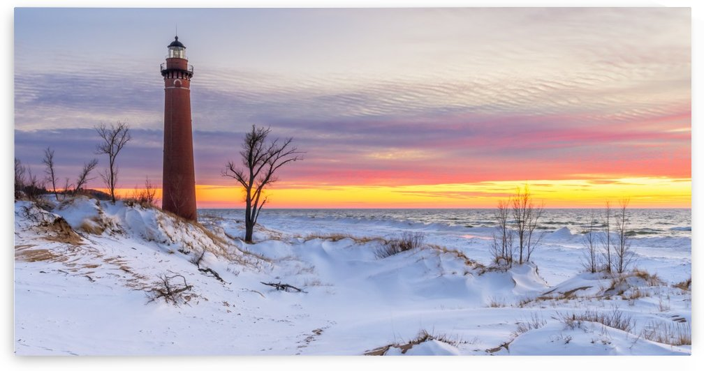 Winter Sunset at Little Sable Point Light by Diane Lynn
