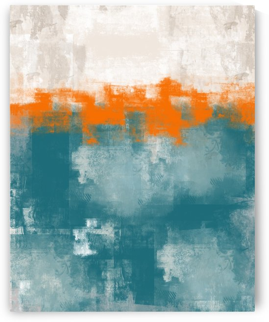 Blue Gray Orange Abstract DAP 20014 by Edit Voros