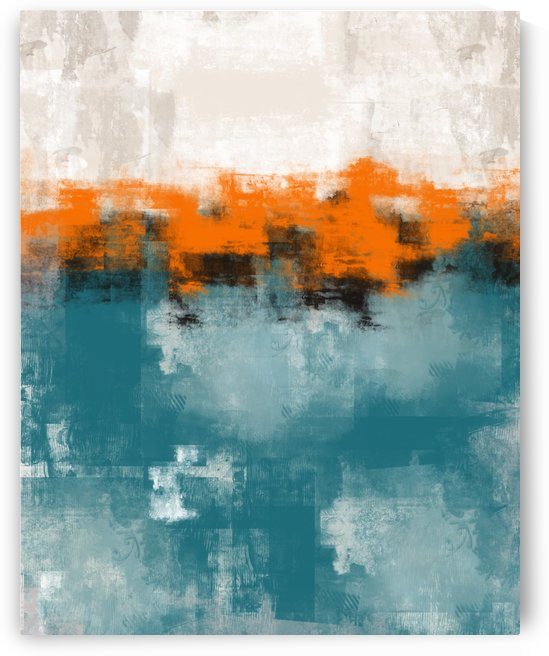 Blue Gray Orange Black Abstract DAP 20015 by Edit Voros