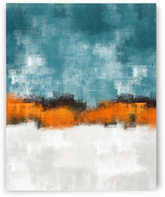 Blue Gray Orange Abstract DAP 20020 by Edit Voros