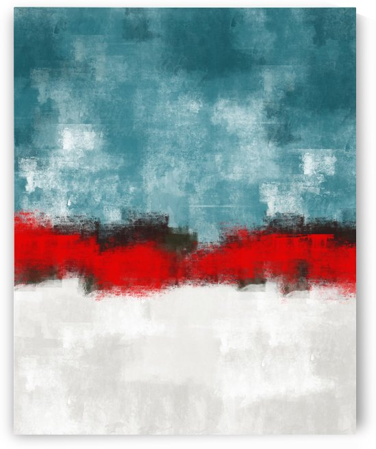 Blue Red Gray Abstract DAP 20021 by Edit Voros