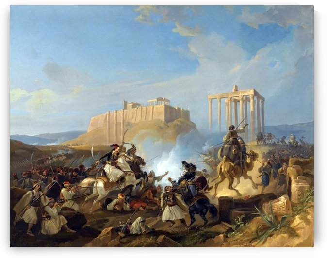 Battle scene from the Greek War of Independence by Georg Perlberg