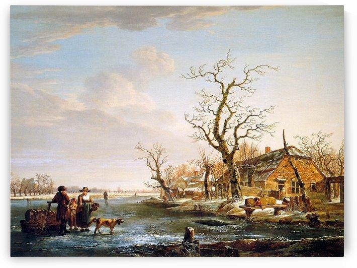Winter landscape at Drevel by Jacob van Strij