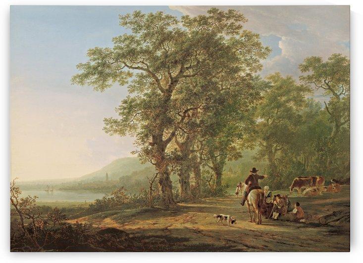 Figures in a forest landscape by Jacob van Strij