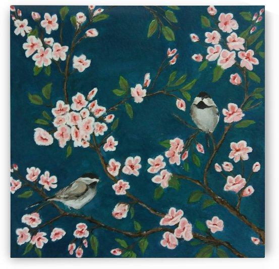 Cherry blossom and Sparrow by Princely Ashisha