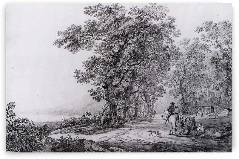 Landscape with forest by Jacob van Strij