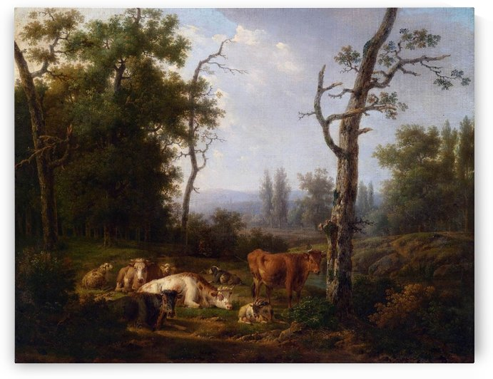 Wooded Landscape with Resting Cattle by Jacob van Strij