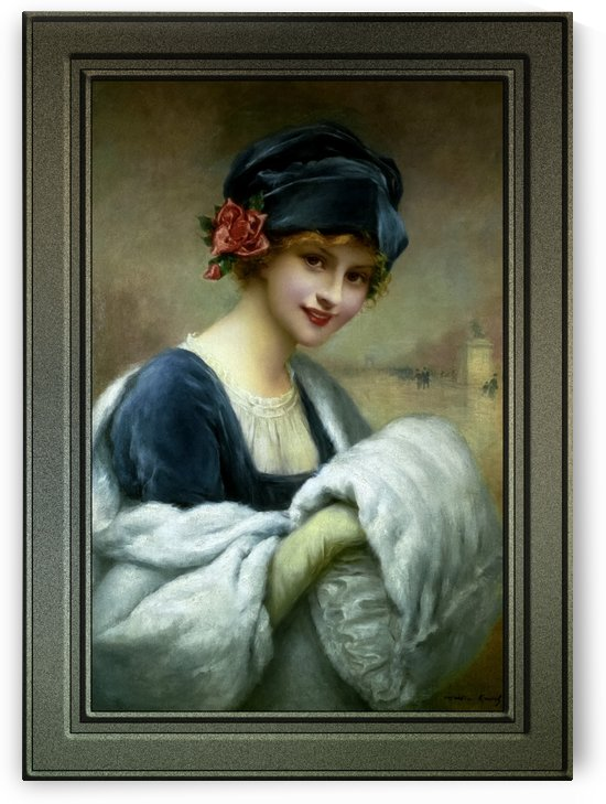Girl With A Fur Muff by Francois Martin-Kavel Art Nouveau Old Masters Reproduction by xzendor7