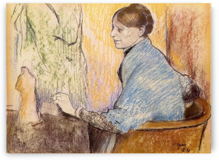 Mme Henri Rouart before a  statue by Degas by Degas