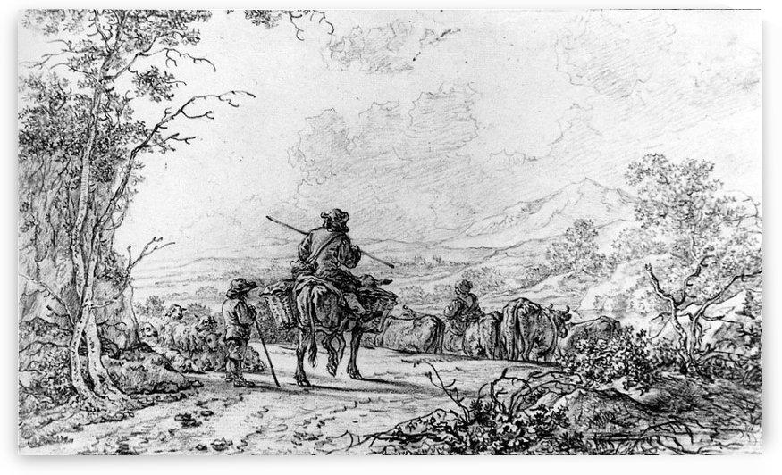 Herdsmen in landscape by Abraham van Strij