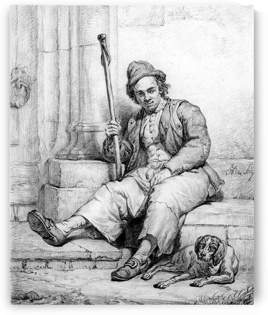Sitting man with dog by Abraham van Strij