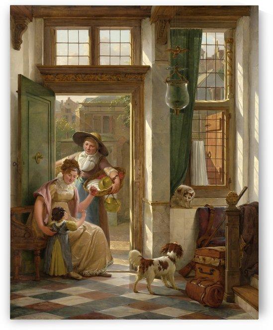 Een kersenverkoopster aan de deur by Abraham van Strij