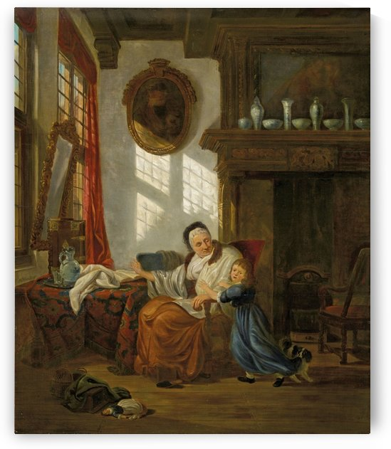 Interior with an old woman and her grandchild by Abraham van Strij
